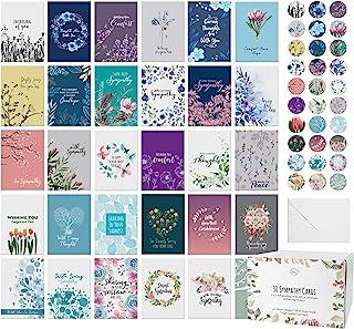 Dessie 30 张独特的同情卡片,内有问候。30 张不同大号贺卡,带信封和匹配的密封贴纸。