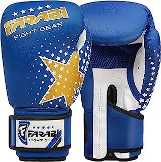 Farabi 拳击手套儿童青少年泰拳踢拳训练综合格斗拳击袋(6 盎司,蓝星)