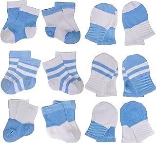 UwelO *婴儿袜 0-3 个月,3-12 个月 - 无划痕连指手套新生儿女孩和男孩送礼会礼物 12 双装