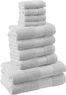 dreamscene 奢华 埃及长绒棉10件套浴室毛巾捆 FACE 沐浴手工礼品套装,白色,10块装