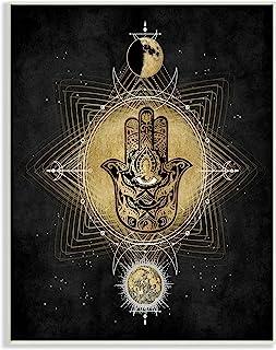 Stupell Industries 几何哈姆萨和邪恶*占星术符号,由 Oliver Jeffries Wall Plaque,棕褐色