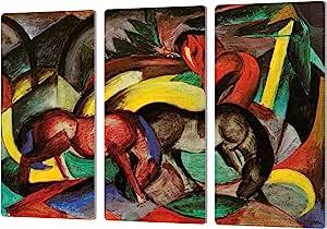 "ArtWall Franz Marc's Three Horses Artmetalz 3 Piece Aluminum Print Set, 24"" x 36"""