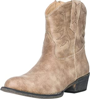 Silver Canyon 女式西部短款牛仔靴麦迪逊圆头