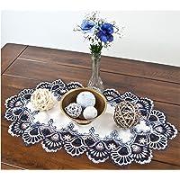 大号蕾丝餐具垫梳妆台围巾桌巾蓝色*蓝和白色欧洲桌子中心装饰品 35.56 x 53.34 厘米