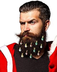 Beardaments 胡须饰品 – 原创 12 件彩色圣诞面部发饰 适合男士在节日精神中轻松连接迷你胡子、侧烧、节日红、*、金色、银色混合