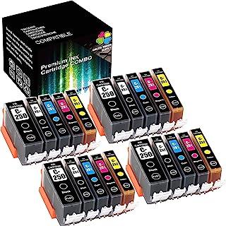 (4 大黑色 + 4xBCYM) 兼容 PGI250 PGI-250 CLI251 CLI-251 XL 墨盒(*墨盒)适用于 PIXMA MG5520 MG5420 MG5620 MG6320 MG6620 MG7520 打印机