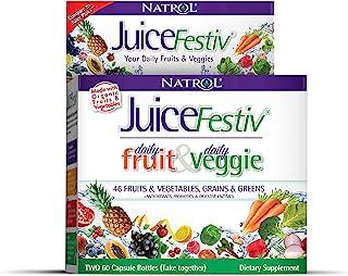 Natrol Juicefestiv 多种果蔬胶囊,60粒多种水果胶囊+ 60粒多种蔬菜胶囊 (2瓶装)