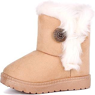 femizee 幼儿女孩半毛皮衬里防水冬季雪地靴