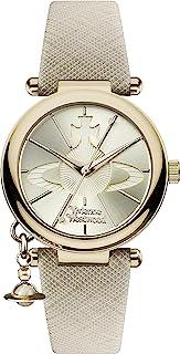 Vivienne Westwood 女式圆头流行石英模拟显示手表金色表盘和奶油色皮带 VV006GDCM