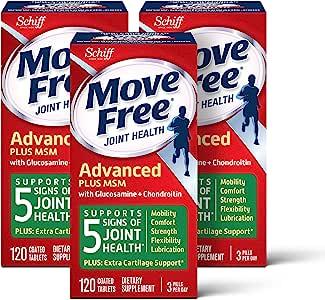 Move Free 益节 氨基葡萄糖软骨素以及MSM补充片剂(一盒120粒)(3盒装),支持移动性,灵活性,强度,润滑性和舒适性*