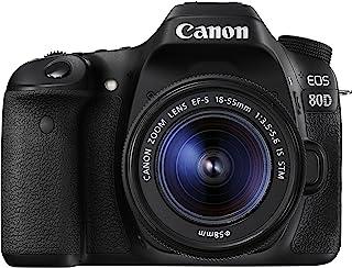 Canon EOS 80d 24.2megapixel 数码单反相机, EF-S 18–55mm IS STM 镜头,黑色/炭黑色