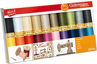 Gutermann 734521-2 螺纹套件 天然棉 50 100 米 x 10 卷轴 多种颜色 100 m GUT_734520-1