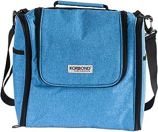 Korbond 纱线收纳袋 – 蓝色 – 钩针编织手提袋用于纱线,有多个口袋和孔眼用于喂食纱线