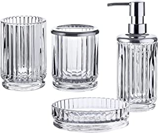 Whole Housewares 浴室配件套装,4 件套玻璃浴室配件,包括肥皂/乳液分配器、牙刷架、玻璃杯和肥皂碟(透明)