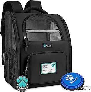 PetAmi 豪华宠物背包,适合小型猫和犬,小狗   透气设计,双面入口,*特点和靠垫背部支撑   适合旅行、远足、户外使用 黑色