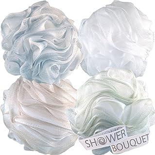Loofah 浴室海绵 XL 75 克沐浴露 Bouquet 出品:4 只装柔和色泽 - 超大号网格 Pouf 刷洗剂 - 含大毛绒洗浴配件
