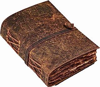 复古皮革杂志 - 皮革杂志 - 复古杂志 - 影子书 - 拼写书 - 皮革装订杂志 - 复古甲板边缘手工纸 - 8 X 6 英寸(约 20.3 X 15.2 厘米) Leather Village 出品