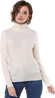 女士纯羊绒羊毛高领毛衣长袖套头上衣