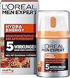 L'Oréal Paris 巴黎欧莱雅 男士专家 Hydra Energy 保湿面霜,适用于疲累/正常男士肌肤,抗疲乏…