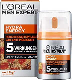 L'Oréal Paris 巴黎欧莱雅 男士专家 Hydra Energy 保湿舒缓面霜,适用于正常至紧张的男士肤质,含维生素C和瓜拉那,1瓶装/50ml