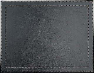 Via Deco 餐垫*矩形经典人造革4件套 黑色