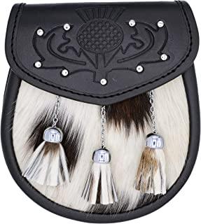 男式苏格兰多色牛皮短裙 Sporrans/全裙 铆钉 Sporran 带链条和腰带