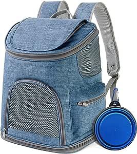 IDEE 狗狗背包背带适用于小型犬,猫背包背包,适用于小型犬,猫,兔子,徒步,自行车,露营,旅行户外使用,高达 10 磅(蓝色)