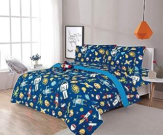 Sapphire Home 6 件套单人床尺寸男孩儿童青少年棉被套装床上用品、枕套、床单套件和装饰玩具枕、儿童棉被床上用品带床单宇航员火箭船太空,多色 6 件套 Astro