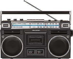 Crosley CT201A-BK 复古蓝牙 Boombox 磁带播放器 带 AM/FM 收音机和低音增强器