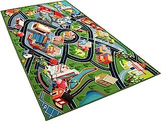 儿童地毯游戏垫地毯 - 有趣的地毯城市地图适用于Hot Wheels 赛道和玩具 - 适用于幼儿男孩、卧室、游乐室、客厅游戏垫,适合小孩使用