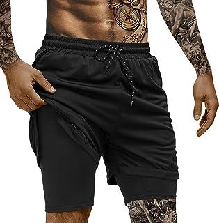 poriff 男式 2 合 1 跑步短裤轻质健身瑜伽训练运动短裤速干男式短裤带手机袋