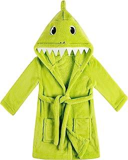 男童女童鲨鱼柔软连帽浴袍幼儿长袍,带动物兜帽