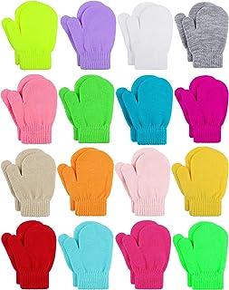 Cooraby 16 双装幼儿手套魔术弹力冬季手套柔软保暖中性款婴儿针织手套