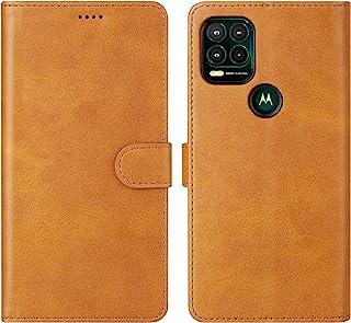 Cresee 适用于摩托罗拉 Moto G Stylus 5G 2021 手机壳,PU 皮革钱包翻盖保护套 [3 个卡槽 1 个钱袋] [磁扣] [支架] 对开式手机壳适用于 Moto G Stylus 5G 2021 - 棕褐色