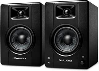 M-Audio BX4-120 瓦供电台式电脑扬声器/工作室监视器,适用于游戏、音乐制作、现场流媒体和播客(BX4 对)