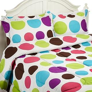 Divatex Home Fashions 大号圆点迷你棉被套装,多种明亮,双人床/中号双人床