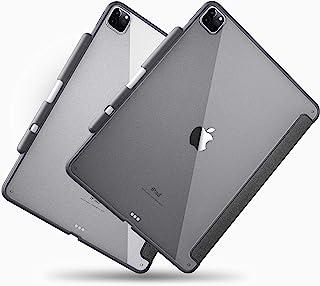 TineeOwl Glace - iPad Pro 12.9 保护套 2020 & 2018(*四代和*三代)超薄透明保护套,带笔筒,支持 Apple 铅笔无线充电[吸收冲击]轻质(黑色)