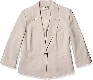 Kasper 女式鹅卵石弹力绉纱缺口领夹克,带卷袖和旋锁封口