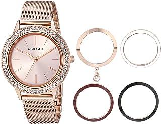 Anne Klein 安妮 克莱恩女式手镯手表和可互换表圈套装