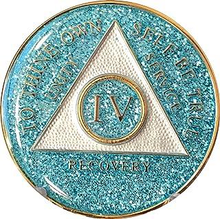 4 年 Aqua Glitter 三盘酒精匿名*章 - AA Sobriety Chip