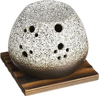 Yamakiikai 香炉 灰色 主体/约直径11.0×高8.0厘米、托盘/约直径6.0×高1.0厘米、蜡烛/约直径3.8×高1.6厘米、垫板/约长10.8×宽11.0厘米 常滑烧 石风茶香炉(带垫板)