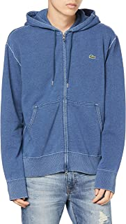 Lacoste 连帽运动衫 [官方] 常规修身款 高级棉 靛蓝拉链运动连帽卫衣 男士
