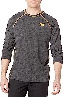 Caterpillar 男式 Power 条纹长袖 T 恤, 深灰色, Medium