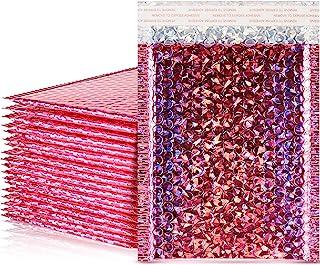 30 件泡泡邮寄袋填充聚酯邮寄器金属全息垫信封密封封口信封邮寄袋(玫瑰红色,15.24 x 25.44 厘米)