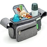 Ethan & Emma 通用婴儿推车收纳架带隔热杯架,适合智能妈妈。尿布存放,*肩带,可拆卸袋,口袋可放置手机、钥匙…