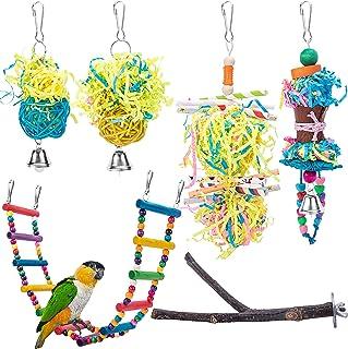 Deloky 6 件鸟类梯子秋千咀嚼玩具 - 鸟类碎纸机玩具鹦鹉笼觅食悬挂玩具适用于小鸟长尾鹦鹉、鹦鹉、爱情鸟、鹦鹉、鹦鹉、鹦鹉、鹦鹉、鹦鹉、鹦鹉、鹦鹉、鹦鹉、鹦鹉、