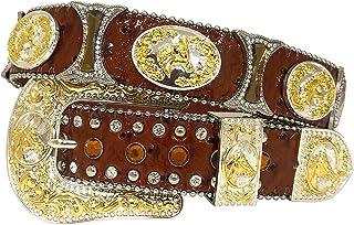 新款男式西部牛仔女牛仔金马银色沙漏式扣饰闪亮皮带