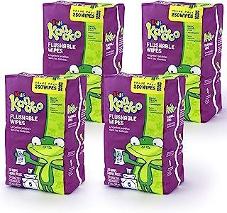 Kandoo 婴幼儿可冲洗湿巾 魔法瓜 如厕训练湿清洁布 250 片装 4 件装