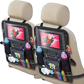 Cartik 儿童后座汽车收纳袋,适用于 iPad Touch 屏幕的平板电脑支架,适用于婴儿推车,大容量存储,踢垫,后座保护垫,收纳电子书。 黑色 2组