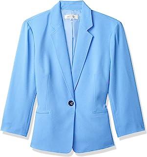 Kasper 女士翻锁开合缺口领绉绸夹克,短款袖设计